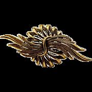 Dramatic Mid-Century ART Big Brass Brooch