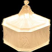 ca 1930s Ramses Paris Signed Nude Lady Satin Glass Vanity Powder Jar