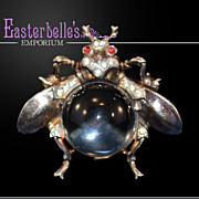 Hard to Find Collectible Crown Trifari Sterling Jelly Belly Fly Brooch
