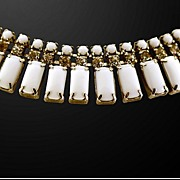 Classic and Elegant Milk Glass and Rhinestones Choker Necklace