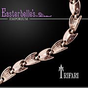 Stylish Crown Trifari Silver-Tone Bracelet