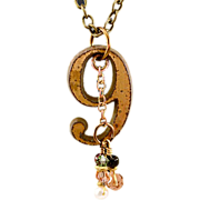 "OOAK Davison ""No. 9"" Brass and Gemstones Pendant Necklace"