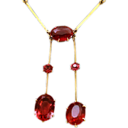 Edwardian 9K Gold Red Glass Negligee Necklace