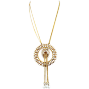 Bold and Glorious Alice Caviness Goldtone & Rhinestone Medallion Necklace
