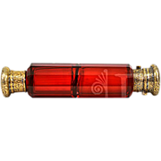 ca 1899 Large Ruby Red Glass Lay Down Double Scent Bottle 18K GP Sterling Lid Fully Hallmarked