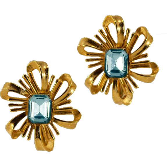 Swanky Blue Rhinestone Crown Trifari Earrings