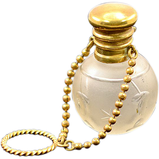 Antique Frosted Acorn Etched Glass & Brass & Perfume Bottle