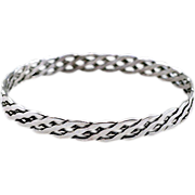 Vintage Sterling Silver .925 Knotwork Woven Bangle Bracelet