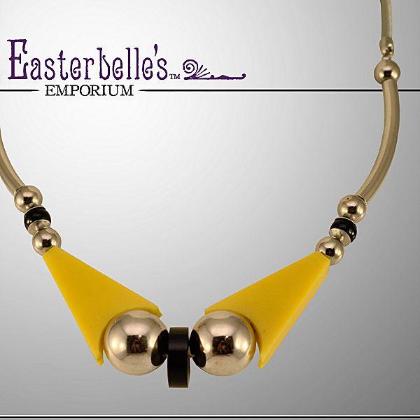 Vintage Jakob Bengel Modernist Black, Yellow & Chrome Necklace