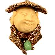 Vintage Very Rare HAR Asian Man Rhinestone Scarf Clip