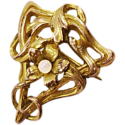 Classic Art Nouveau Romantic 12K Gold-Plated Brooch