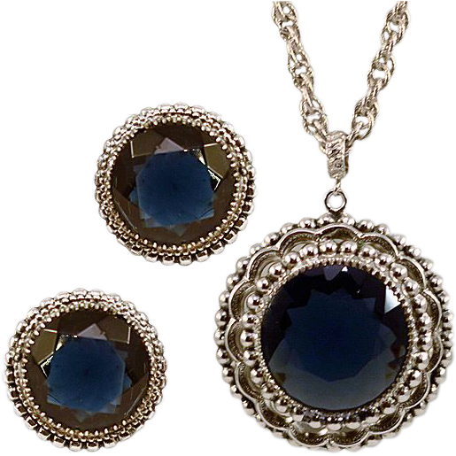 Whiting & Davis Enormous Sapphire-colored Rhinestone Necklace & Earring Set Orig Box