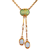 Antique 14K Gold Edwardian Era Opal Negligee Necklace
