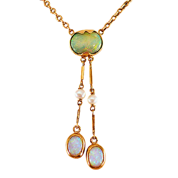 Antique 14k Gold Edwardian Era Opal Negligee Necklace From Easterbelles Emporium On Ruby Lane