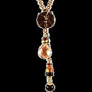 OOAK Davison Antique Dig Finding  Pendant & Oregon Sunstone Briolette  Necklace