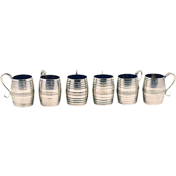 Antique Italian Sterling Silver Small Tankard Set with Serpent Handles in Original Case