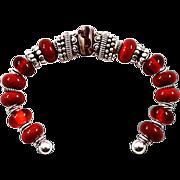 OOAK Davison Red Blown Glass & Sterling Silver Cuff Bracelet