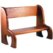 Vintage Wooden Doll Bench with Heart Shaped Legs