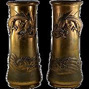 Antique Japanese Brass Dragon Rare Vase Set - Gorgeous HUGE Statement PIeces