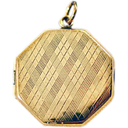 ca 1920's 9 Karat Gold Octagonal Locket Bishton and Fletcher