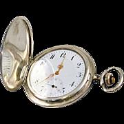 Antique Niello Swiss Pocket Watch Sterling Silver Nouveau Engraving 9K Gold Cartouche Half Hunter Case Style