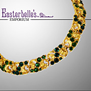 Glittering Goldtone and Green Rhinestone Vintage Necklace