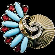 ca 1944-1949 Boucher Sterling Silver Phrygian Cap Rhinestone Fan Fur Clip