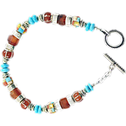 "OOAK Susan Davison Sterling Silver Bracelet with ""Mondrian"" Style Beads"