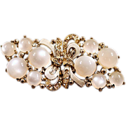 ca 1931 Coro Duette Moonglow Lucite & Rhinestone Brooch