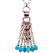 SOLD OOAK Davison Sterling Silver Tassel Chain Necklace with Sleeping Beauty Turquoise