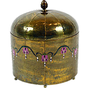 Arts and Crafts Era Enameled Brass Large Humidor