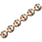 1950's Corocraft with Inset Colorful Cabochons Linked Bracelet