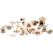 Exquisite 25 Piece Set of Limoges Fragonard Transferware Porcelain with Gold Gilding Miniature