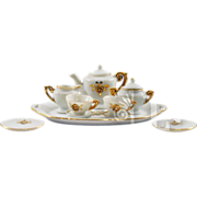 "Darling 10-Piece Vintage ""Transferware"" with Gold Gilding Miniature Tea Set"