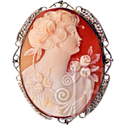 Stunning Victorian Finely Carved Cameo in Sterling Silver Filigree