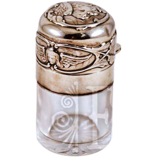 ca 1900  Sterling William Comyns Cut-Glass Perfume Scent Bottle with Angel Decoration