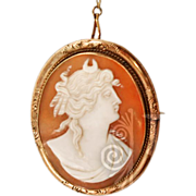 Antique 14K GP Goddess Diana Carved Shell Cameo Pendant Brooch