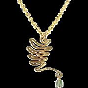OOAK Davison Brass Wing Pendant with Tourmaline