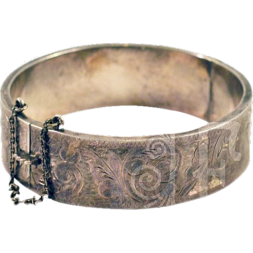 Vintage Sterling Silver Cuff Bracelet with Hand Etching