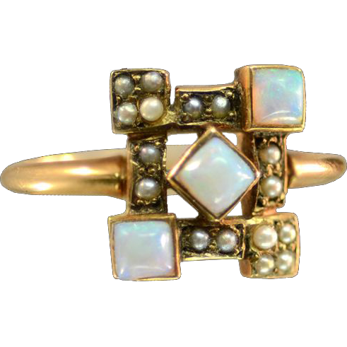 Antique 14K Rose Gold Seed Pearls and Opals Ring