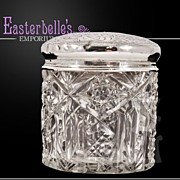 ca 1913 Sterling Silver Lidded Chester Hallmarked Cut Glass Dresser Jar