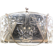 Vintage Unusual Llewellyn Lucite and Rhinestone Evening Bag