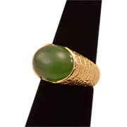 Dramatic 14K Gold and Jade Vintage Ring