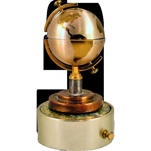 Unique Vintage Globe Lighter with Original Music Box Base