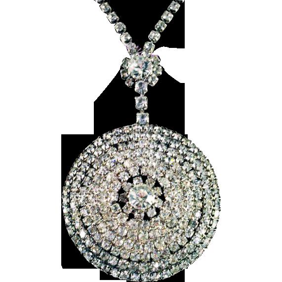 Vintage HUGE Showstopping Brilliant Rhinestone Medallion Necklace