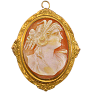 Stunning 10 Karat  and Shell Antique Cameo Brooch Pendant