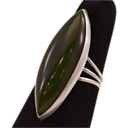 Vintage Sterling Ring With HUGE Dark Green Jade Stone