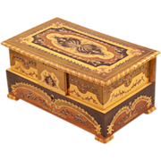 SALE PENDING Intricate Inlay Wooden Vintage Italian Music Box - With Ballerinas!!