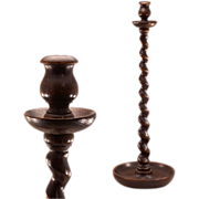 "Beautiful Antique Arts and Crafts Oak ""Barley Twist"" Candlesticks"