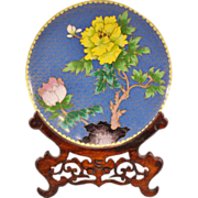 Beautiful Vintage Cloisonné Plate With Traditional Japanese Decoration and Wooden Stand